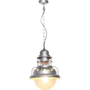 Globo Lampe suspension de style rétro en argent avec cage JADEN