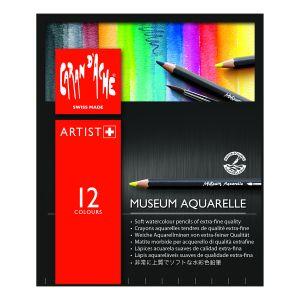 Caran d'Ache Museum Aquarelle Lot de 12 crayons aquarelle de qualité extra fine
