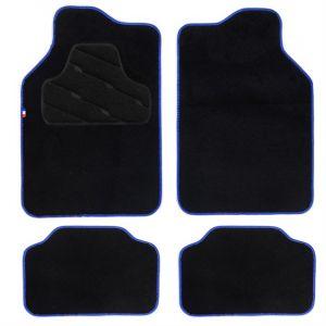 HVD 4 tapis de voiture universels moquette noir ganse bleu