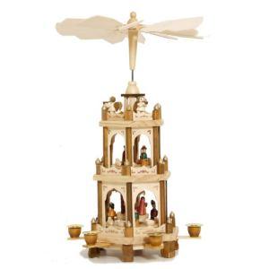 Pyramide de Noël en bois avec crèche et moulin à vent (45 cm)