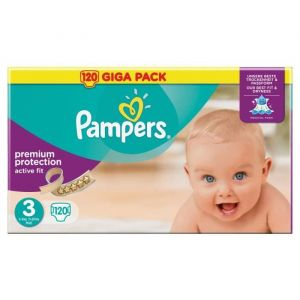 Pampers Active Fit taille 3 (4-9 kg) - 120 couches Premium Protection