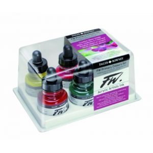 Daler Rowney FW 29.5ml Acrylique Encre Bottle - Primary Couleurs