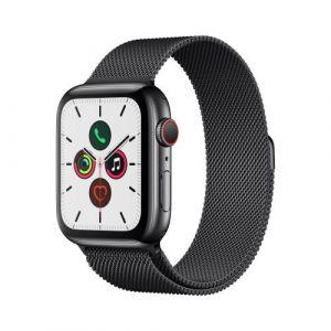 Apple Watch Watch Series 5 GPS + Cellular 44mm, Boitier Acier Inoxydable Noir Sidéral avec Bracelet Milanais Noir Sidéral