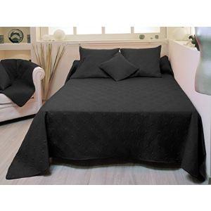 couvre lit 220x240 noir comparer 21 offres. Black Bedroom Furniture Sets. Home Design Ideas
