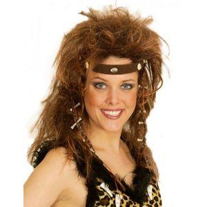 Perruque femme des cavernes châtain avec tour de tête