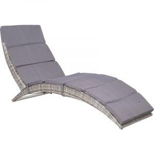 VidaXL Chaise longue de jardin Résine tressée 159x57x76 cm Gris