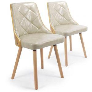 Declikdeco Lot de 2 chaises scandinave chêne clair et crème PERIG