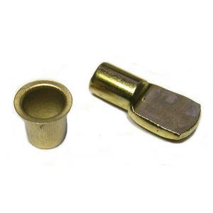 Strauss Taquet d'étagère acier - Tige de 7 mm - Laitonné - 4 taquets et 8 douilles