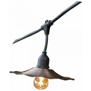 Lumisky Guirlande lumineuse extérieur avec abat-jour en acier cuivré 10 ampoules à filament vintage douille E27 LED blanc chaud RETRO LIGHT