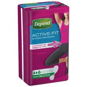 Depend Active Fit Normal - Paquet de 14 serviettes hygiéniques ultra fine femme