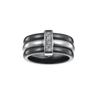 Ceranity 18/0003-N - Bague en céramique, diamant et argent pour femme