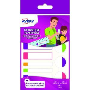 Avery-Zweckform APFLUO24 - 24 étiquettes plastifiées blanches bordure couleur fluo, formats 63 x 16 / 63x 8 / Ø 25 mm