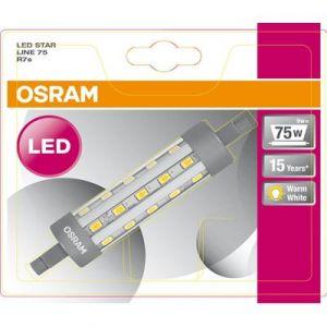Osram LED STAR LINE / Ampoule LED Crayon, Culot R7s, 9W Equivalent 75W, claire, Blanc Chaud 2700K, Lot de 1 pièce