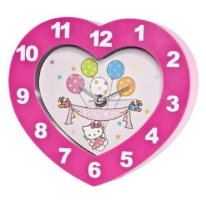 Joy Toy Horloge murale Hello Kitty forme de coeur
