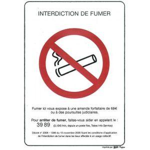 "APLI 100781 - Picto ""Interdiction de fumer"" adhésif format A4"