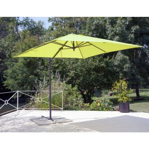 Parasol déporté à manivelle carré 2,5 m anis