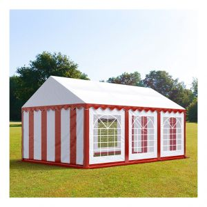 Intent24 Tente de réception 3 x 6 m PVC rouge-blanc