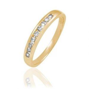 Histoire d'Or Demi-alliance en or ornée de diamants - jaune