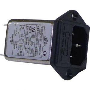 Yunpen Filtre réseau 521461 avec connecteur femelle pour appareil, avec fusible 250 V/AC 1 A 3.7 mH (L x l x h) 60 x 45