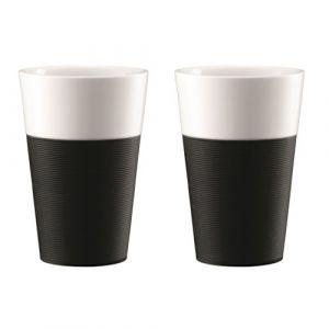 Bodum Set de 2 mugs en porcelaine avec bande silicone Bistro 0,6 L noir et blanc - Matière : porcelaine - Dimensions : 10,9x20,8x17 cm - Capacité : 0,6 L - Coloris : noir et blanc