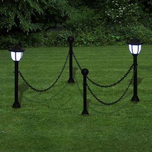 VidaXL Barrière à chaîne,2 lampes solaires et 2 poteaux