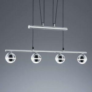 Trio Suspension, Baloubet incl. 4 x LED,SMD,3,8 Watt,3100K,350 Lm. Corps: Plastique, Chrome L:75,0cm, L:8,0cm, H:180,0cm IP20,Hauteur réglable