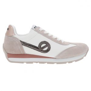 No Name Baskets femme City Run Jogger blanches à détails en suédine rose pâle