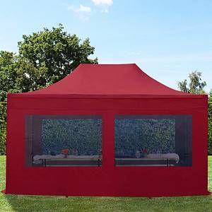 Intent24 Tente pliante tente pliable 3x4,5m - avec fenêtre panoramique PROFESSIONAL toit 100% imperméable tente de jardin pavillon rouge.FR