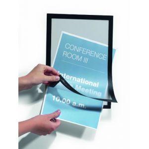 Durable 487201 Duraframe Pochette Cadre d'Affichage Dos Adhésif pour Document A4 Noir Sachet de 2