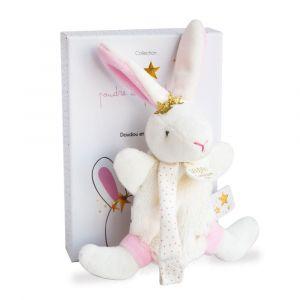 Doudou et Compagnie Lapin étoile - doudou avec attache-sucette - 15 cm