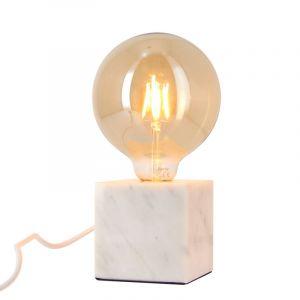 Xanlite Lampe à poser cube en marbre blanc + ampoule globe G125 Vintage incluse