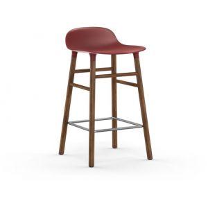 Normann Copenhagen Tabouret de bar Form structure noyer 65cm - rouge/assise polypropylène/structure noyer/LxHxP 43x77x42,5cm