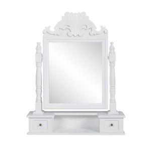 Coiffeuse en bois avec 2 tiroirs et miroir pivotant