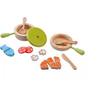 EverEarth Dînette en bois avec set casserole et poêle