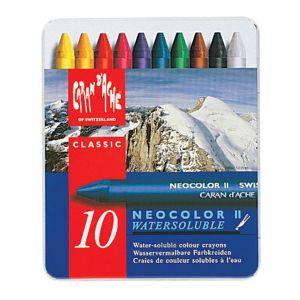 Caran d'Ache Caran Dache NEOCOLOUR II : Artists Crayon Aquarelles : 10 in a Metal boîte