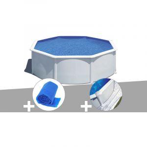Gre Kit piscine acier blanc Wet ronde 3,20 x 1,22 m avec filtration à sable + Bâche à bulles + Tapis de sol