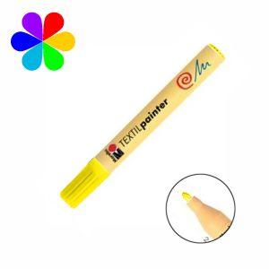 Marabu 011703019 - Marqueur pour tissu Textil Painter, jaune, pointe ogive 2-4 mm