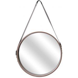 The home deco factory Miroir rond avec anse imitation cuir Barber 40 cm