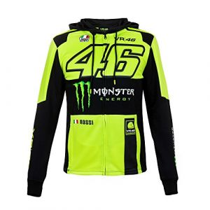 VR46 Sweat zip capuche Valentino Rossi Replica Monster jaune fluo 2018