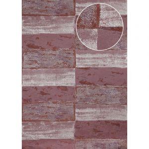 Atlas Papier peint aspect pierre carrelage ICO-2705-5 papier peint intissé lisse avec un dessin nature satiné pourpre rouge-noir rouge vin argent 7,035 m2