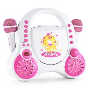 Auna Rockpocket Système karaoké pour enfants CD AUX 2x micros + stickers
