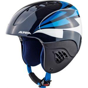 Alpina Carat Casque de Ski enfants Noir/Bleu 51-55 cm