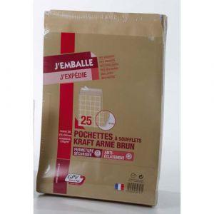 Gpv 39747 - Sac à soufflet Pack'n Post 275x365x30, 130 g/m², coloris brun - paquet de 25