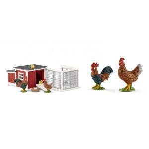Schleich Figurines animaux de la ferme (poulailler, poule, coq)