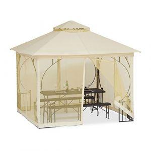 Relaxdays 10022919 Tonnelle Pergola 3x3 m 4 côtés pavillon chapiteau réception Mariage Rideaux imperméable Polyester, Champagne