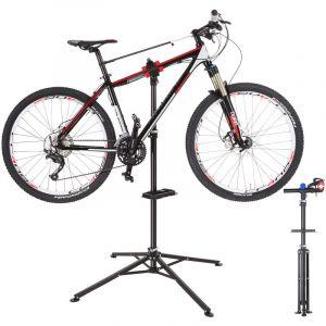 TecTake Support de Montage Vélo, Pied d'Atelier d'Entretien de Réparation Charge 25 kg Réglable Pliable 85 cm x 85 cm x 200 cm