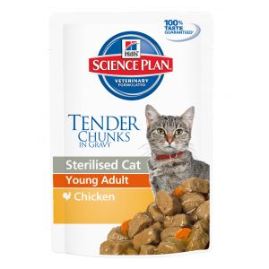 Hill's 12x85g Young Adult Sterilised Cat poulet Science Plan - Nourriture pour Chat