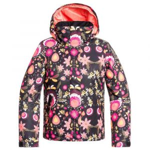 Roxy Jetty Girl-Veste de Ski/Snowboard Fille 8-16 Ans, True Black Folk Winter, FR : S (Taille Fabricant : 8/S)