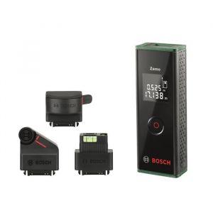 Bosch Télémètre laser Zamo - Set 3 accessoires - Bouton unique - Capable de mesurer avec précision jusqu'à 20 m et de calculer la superficie - 4 en 1