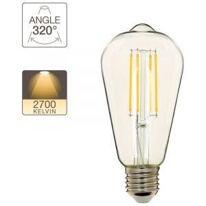 Xanlite Ampoule à filament LED Edison, culot E27, 8W cons. (75W eq.), lumière blanc chaud